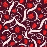 与红色郁金香的无缝的样式 库存照片