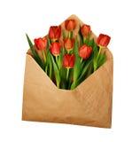 与红色郁金香的被打开的工艺纸信封开花 图库摄影