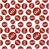 与红色销售标志的无缝的传染媒介样式 免版税图库摄影