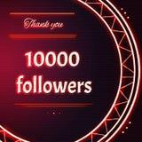 与红色霓虹文本的卡片感谢您一万10000追随者 免版税库存图片
