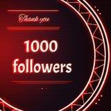 与红色霓虹文本的卡片感谢您二千1000个追随者 库存图片
