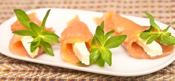 与红色鱼的开胃菜 免版税库存图片
