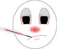 与红色鼻子和温度计的病的emoji捉住了的寒冷和感到isn的` t好 库存照片