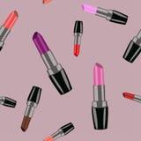 与红色,桃红色和紫色唇膏的无缝的样式 传染媒介illu 免版税库存照片