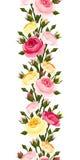 与红色,桃红色,橙色和黄色玫瑰的无缝的垂直的边界 也corel凹道例证向量 免版税库存照片