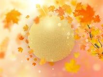 与红色,橙色和黄色落的秋叶背景 10 eps 向量例证