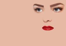 与红色嘴唇的概念性图象 库存图片