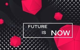 与红色3d形状的未来派概念 未来现在是横幅 与白色框架的技术抽象背景 未来派 皇族释放例证