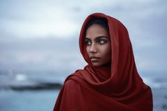 与红色paranja的美丽的印地安女性画象 库存图片