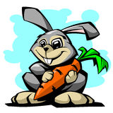 与红萝卜传染媒介例证的野兔 免版税库存照片