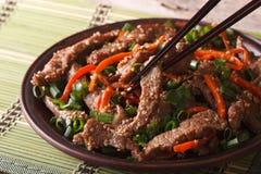 与红萝卜和葱特写镜头的韩国bulgogi牛肉 水平 免版税库存照片