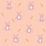与红萝卜无缝的样式的动画片兔子 免版税库存照片