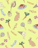 与红萝卜甜糖果点心逗人喜爱的样式例证传染媒介的兔子 图库摄影
