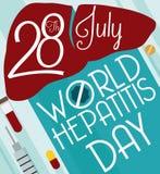 与纪念世界肝炎天,传染媒介例证的预防工具的海报 库存例证