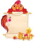 与纸卷和圣诞节装饰品的红火雄鸡 库存照片