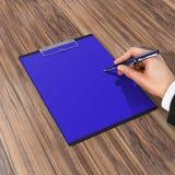 与纸和笔,企业概念的文件夹 免版税库存图片