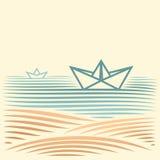 与纸小船的风景 免版税图库摄影