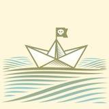 与纸小船的风景 图库摄影