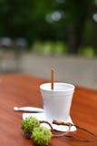 与纸杯的一张平安的照片在咖啡馆的大阳台的桌上的茶在一个美丽的绿色公园 库存图片
