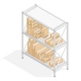 与纸板箱的存贮架子 向量例证