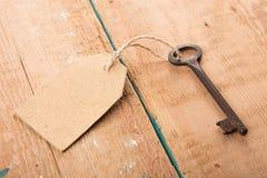 与纸标签的老生锈的钥匙在木板 库存照片