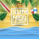 与纸样式图画和热带植物的暑假海滩 免版税图库摄影