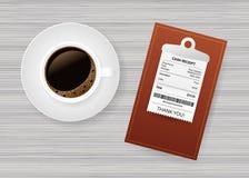 与纸检查的文件夹 E 餐馆票据支付 出纳员支票,发货票,命令 t 皇族释放例证