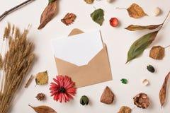 与纸模板的秋天背景在信封 库存图片