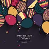 与纸气球的传染媒介五颜六色的生日贺卡 免版税库存照片