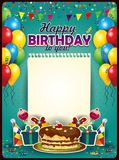 与纸片的生日快乐垂直 库存例证