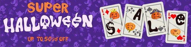 与纸牌的紫色印刷品海报为万圣夜 库存例证