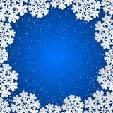 与纸的传染媒介蓝色冬天正方形框架删去了雪花装饰 免版税库存图片