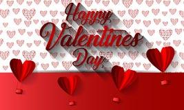 与纸的愉快的情人节印刷术传染媒介设计切开了飞行在白色背景中的红色心脏形状热空气气球 库存照片