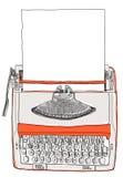 与纸的打字机两口气奶油色桔子 免版税图库摄影