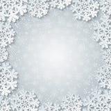 与纸的明亮的冬天白方块框架删去了雪花装饰 免版税库存照片