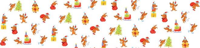 与纸盒狗的无缝的样式在圣诞节帽子 库存照片