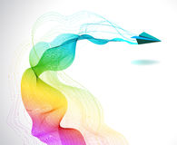 与纸空中飞机的抽象颜色背景 图库摄影