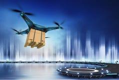 与纸箱的寄生虫在直升机场的飞行 库存照片