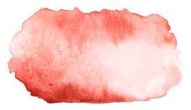 与纸纹理的摘要水彩珊瑚一滴 皇族释放例证