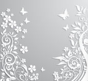 与纸花和蝴蝶的抽象背景 免版税库存图片