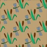 与纸莎草和蜻蜓的无缝的样式 免版税图库摄影