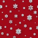 与纸雪花的圣诞节无缝的装饰在红色背景 10 eps 向量例证
