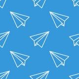 与纸飞机的无缝的样式 向量 库存图片