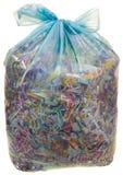 与纸Shreddings的透明塑料袋 免版税库存图片