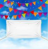 与纺织品横幅的五颜六色的旗布旗子 免版税库存照片