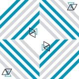 与线和三角装饰品的抽象无缝的样式在白色背景 库存图片