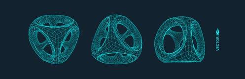 与线和小点的Wireframe对象 抽象3D连接结构 库存图片