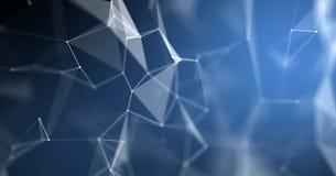 与线和小点连接结的结节摘要背景几何wireframe结构 3D蓝色计算机的数字技术 向量例证