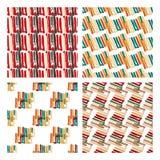 与线和条纹的抽象无缝的样式在颜色品种  免版税库存图片
