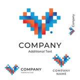与线和正方形的抽象商标象箭头或心脏明亮的五颜六色的现代身分品牌象标志概念集合模板 免版税库存照片